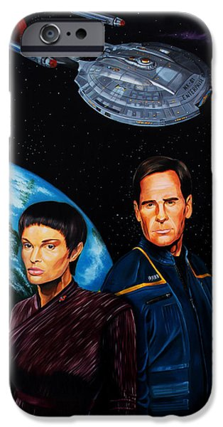 Captain Archer and T Pol iPhone Case by Robert Steen