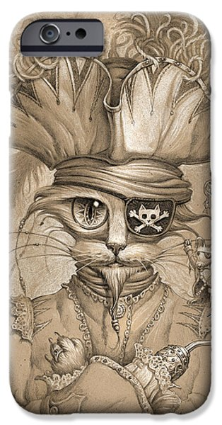 Cat Drawings iPhone Cases - Captain Claw iPhone Case by Jeff Haynie