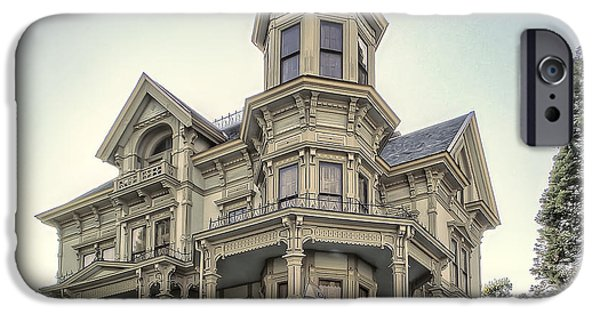 Haunted House iPhone Cases - Captain George Flavel Victorian House - ASTORIA OREGON iPhone Case by Daniel Hagerman
