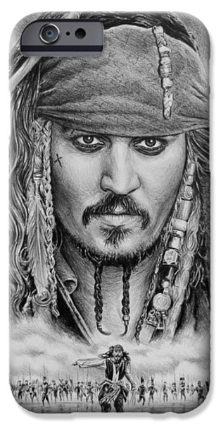 Character Portraits Drawings iPhone Cases - Captain Jack Sparrow iPhone Case by Andrew Read