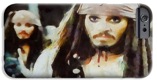 Pirate Ship Mixed Media iPhone Cases - Captain Jack Sparrow iPhone Case by Dan Sproul