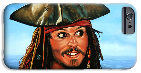 Celebrities Art iPhone Cases - Captain Jack Sparrow iPhone Case by Paul  Meijering