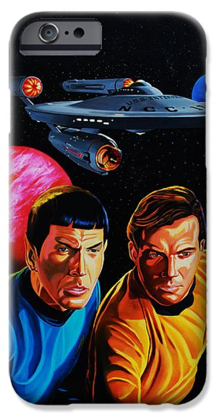 Captain Kirk and Mr. Spock iPhone Case by Robert Steen