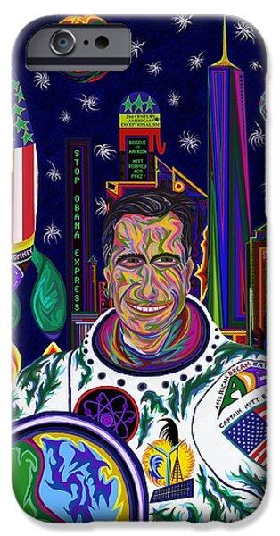 Barrack Obama iPhone Cases - Captain Mitt Romney - American Dream Warrior iPhone Case by Robert  SORENSEN