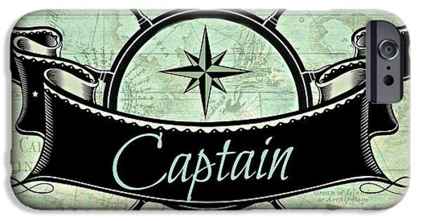 Pirate Ship Mixed Media iPhone Cases - Captain Nautical  iPhone Case by Mindy Bench