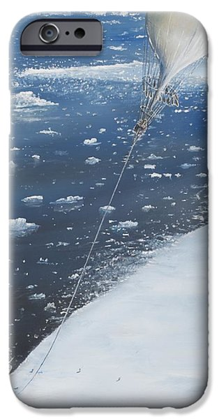 Eva iPhone Cases - Captain Scott Antarcticas first Aeronaut iPhone Case by Vincent Alexander Booth