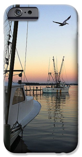 Sunset Scenes. iPhone Cases - Captain Tony - In for the Night iPhone Case by Mike McGlothlen
