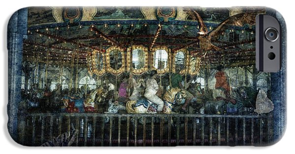 Butterfly Prey iPhone Cases - Captive on the Carousel of Time iPhone Case by Belinda Greb