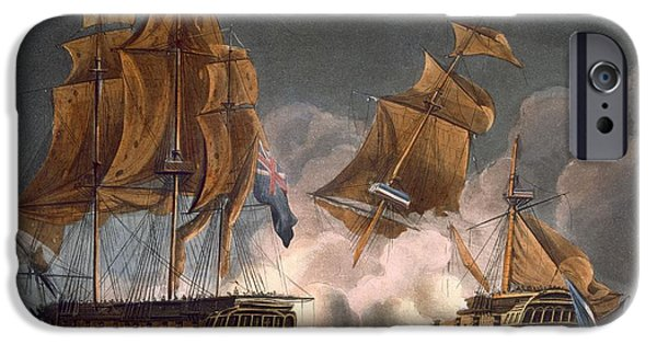 Harbor Drawings iPhone Cases - Capture Of La Tribune iPhone Case by Thomas Whitcombe