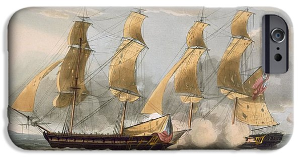 Brig iPhone Cases - Capture Of The Argus iPhone Case by Thomas Whitcombe