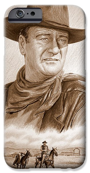 John Wayne Drawings iPhone Cases - Captured sepia iPhone Case by Andrew Read