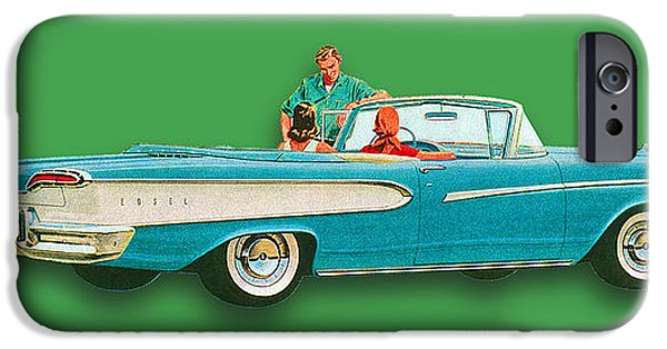 Oil Slick iPhone Cases - Edsel Car Advertisement Convertible Green iPhone Case by Tony Rubino