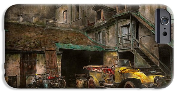 Old Cars iPhone Cases - Car - Cour Rue de Valencemm France - A Sunday afternoon - 1925 iPhone Case by Mike Savad