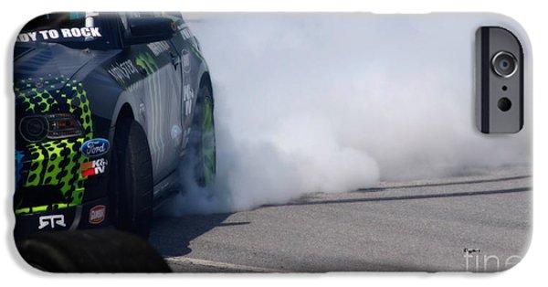 Racetrack Digital Art iPhone Cases - Car Drift  iPhone Case by Steven  Digman