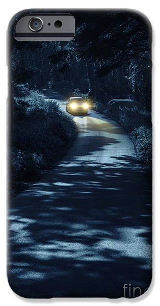 Pathway iPhone Cases - Car in the Woods iPhone Case by Carlos Caetano