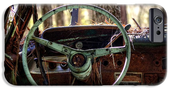 Junk Yard iPhone Cases - Car in the Woods iPhone Case by Greg Mimbs