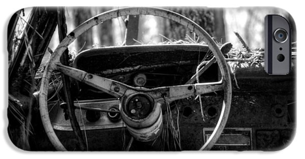 Junk Yard iPhone Cases - Car in the Woods in Black and White iPhone Case by Greg Mimbs