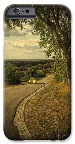 Asphalt iPhone Cases - Car On Road iPhone Case by Carlos Caetano