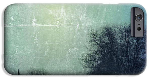 Wintertime iPhone Cases - Car on Snowy Road at Dusk iPhone Case by Jill Battaglia
