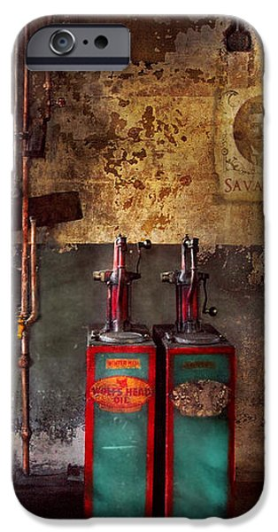Car - Station - Gas Pumps iPhone Case by Mike Savad