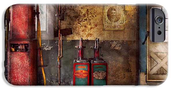 Rust iPhone Cases - Car - Station - Gas Pumps iPhone Case by Mike Savad