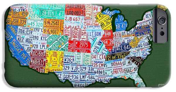Alaska Mixed Media iPhone Cases - Car Tag Number Plate Art USA on Green iPhone Case by Design Turnpike