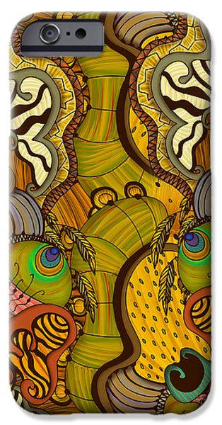Nature Abstract Tapestries - Textiles iPhone Cases - Caravan Pattern iPhone Case by Janet Antepara