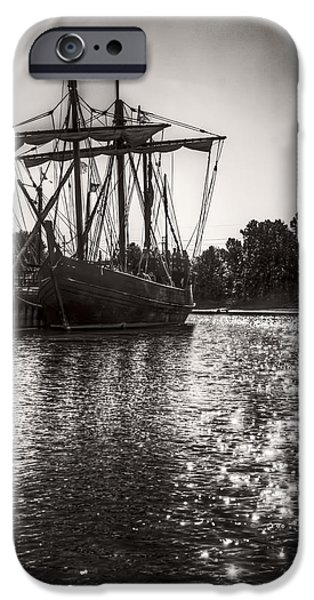 Pirate Ship iPhone Cases - Caravel Class Sailing Ship Pinta - Monochrome  iPhone Case by F Leblanc