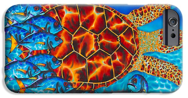 Abstracts Tapestries - Textiles iPhone Cases - Carbbean Sea Turtle iPhone Case by Daniel Jean-Baptiste
