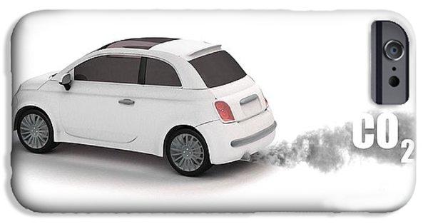 Automotive iPhone Cases - Carbon Dioxide Vehicle Emissions, Artwork iPhone Case by Mikkel Juul Jensen