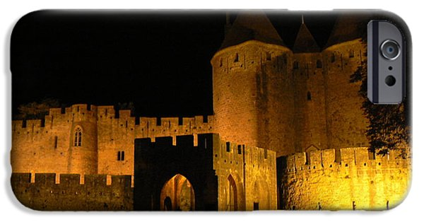 Cathar Country iPhone Cases - Carcassonne at Night iPhone Case by France  Art