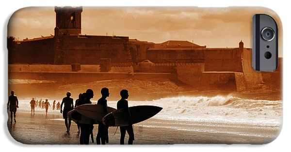 Surf Lifestyle Photographs iPhone Cases - Carcavelos Surfers iPhone Case by Carlos Caetano