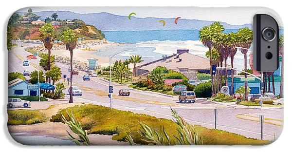 Coastal Paintings iPhone Cases - Cardiff Restaurant Row iPhone Case by Mary Helmreich