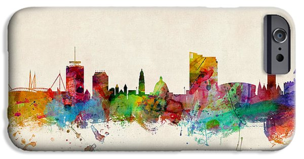 Great Britain iPhone Cases - Cardiff Wales Skyline iPhone Case by Michael Tompsett