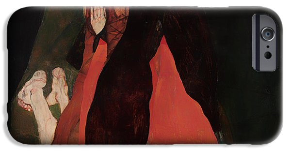 Women Together iPhone Cases - Cardinal and Nun iPhone Case by Egon Schiele