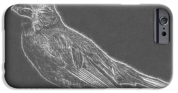 Fauna Drawings iPhone Cases - Cardinal bird Glowing Charcoal Sketch iPhone Case by Celestial Images