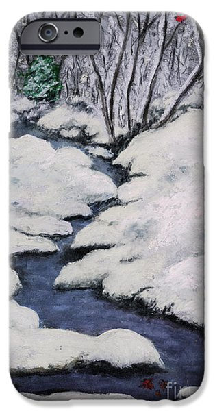 Creek Pastels iPhone Cases - Cardinal Creek iPhone Case by Ginny Neece