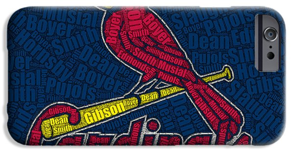 Montage Drawings iPhone Cases - Cardinal Greats Mosaic iPhone Case by Paul Van Scott