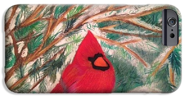 Winter Scene Pastels iPhone Cases - Cardinal in the Snowy Pines iPhone Case by Renee Michelle Wenker