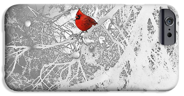 Birds iPhone Cases - Cardinal In Winter iPhone Case by Ellen Henneke