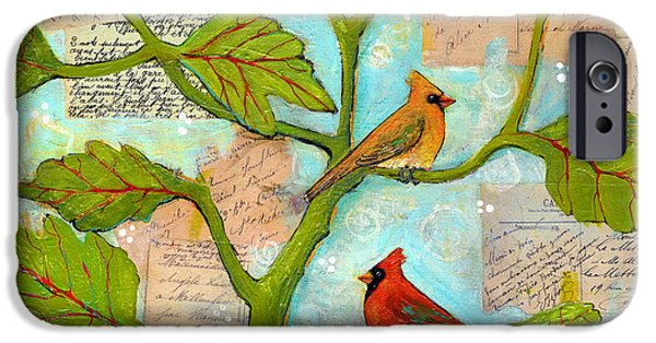 Leaves Mixed Media iPhone Cases - Cardinal Love Notes iPhone Case by Blenda Studio