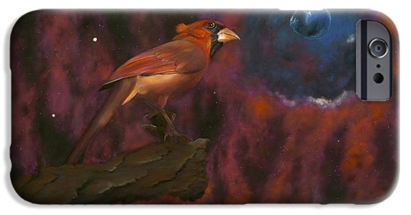 Nature Abstracts Pastels iPhone Cases - Cardinal of Cassiopeia iPhone Case by Eric Allen