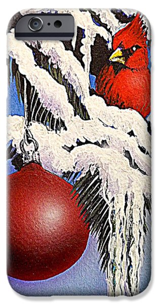 Pines Mixed Media iPhone Cases - Cardinal One Ball iPhone Case by Darren Robinson