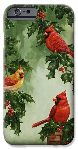 Berry iPhone Cases - Cardinals and Holly - Version without Snow iPhone Case by Crista Forest