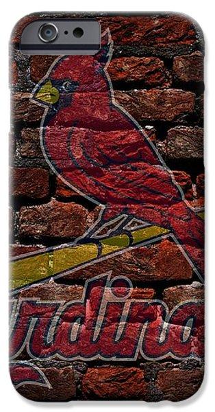 Cardinals Baseball Graffiti on Brick  iPhone Case by Movie Poster Prints