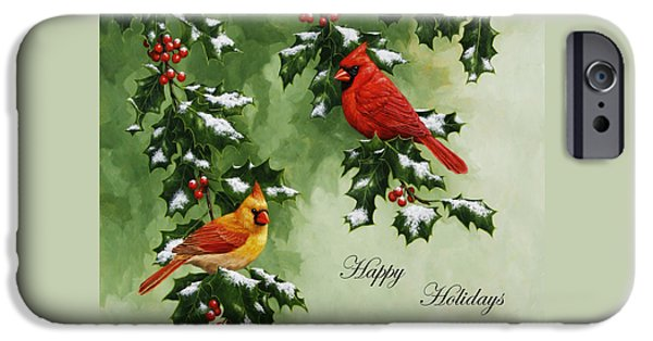 Berry iPhone Cases - Cardinals Holiday Card - Version with snow iPhone Case by Crista Forest