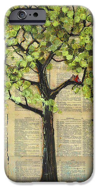 Birds iPhone Cases - Cardinals in a Tree iPhone Case by Blenda Studio