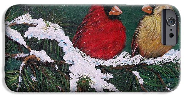 Christmas Greeting iPhone Cases - Cardinals in the Snow iPhone Case by Sharon Duguay