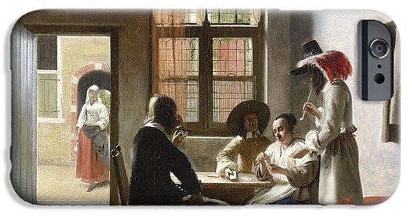 Domestic Scene iPhone Cases - Cardplayers in a Sunlit Room iPhone Case by Pieter de Hooch