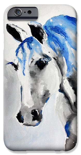 Blue Abstracts iPhone Cases - Care Taker - Horse Art by Valentina Miletic iPhone Case by Valentina Miletic
